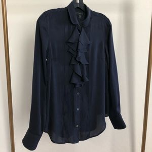 J. Crew - Navy Blue Silk Dress Shirt